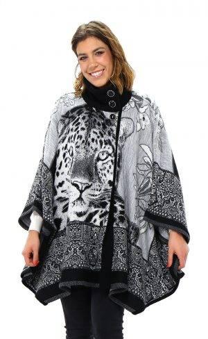 Mantella jacquard leopardo