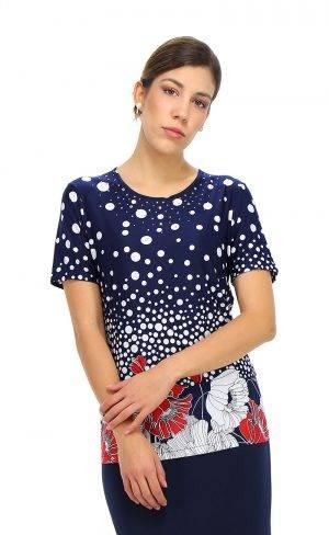 T-Shirt mezza manica fiori e pois