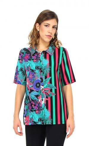 Camicia stampa floreale e geometrica