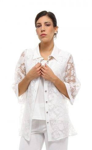 Camicia organza devoré floreale